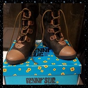 Penny Sue 2 tone wedge boots